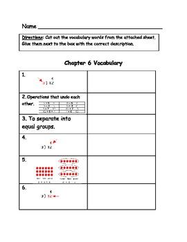 Go Math Vocabulary Match, 3rd Grade, Chapter 6