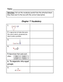 Go Math Vocabulary Match, 3rd Grade, Chapter 7