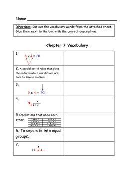 Go Math Vocabulary Match, 3rd Grade, Chapter 7