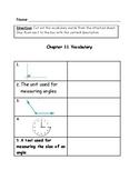 Go Math Vocabulary Match, 4th Grade, Chapter 11