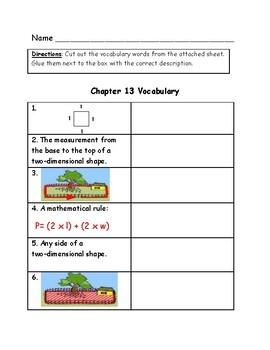 Go Math Vocabulary Match, 4th Grade, Chapter 13