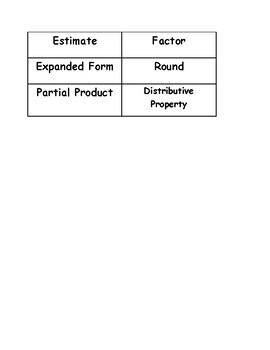 Go Math Vocabulary Match, 4th Grade, Chapter 2