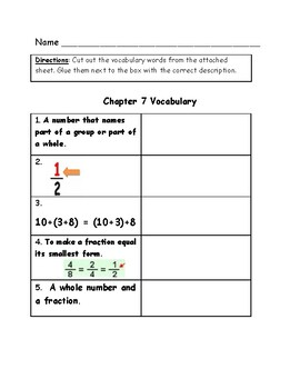 Go Math Vocabulary Match, 4th Grade, Chapter 7