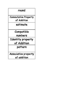 Go Math Vocabulary Match, Chapter 1 3rd grade