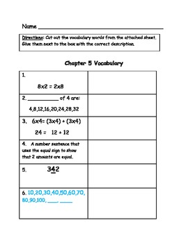 Go Math Vocabulary Match, Grade 3, Chapter 5
