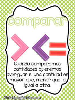 Go Math! Vocabulary Posters in Spanish- Chapter 2