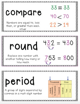 Go Math Vocabulary Word Wall Cards Chapter 1, 4th Grade