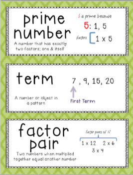 Go Math Vocabulary Word Wall Cards Chapter 5, Grade 4