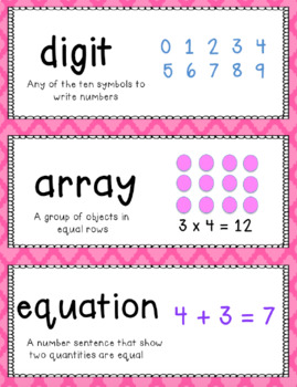 Go Math Vocabulary Word Wall Cards Chapter 2 4th grade
