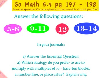 Go Math Interactive Mimio Lesson 5.4 Multiplication Strategies