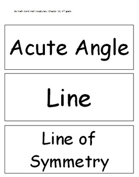 Go Math Word Wall Vocabulary: Chapter 10, 4th grade