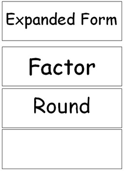 Go Math Word Wall Vocabulary: Chapter 2, 4th grade