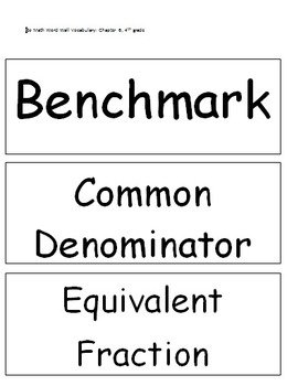 Go Math Word Wall Vocabulary: Chapter 6, 4th grade