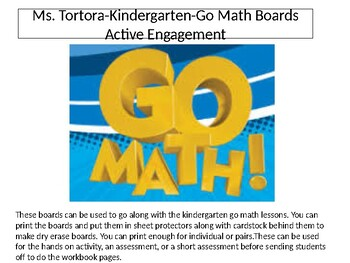 Go Math partner boards
