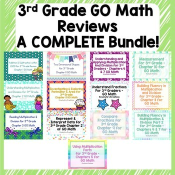 Go Math's 3rd Grade Reviews - COMPLETE Bundle!