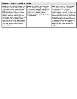 Go Math unit 8 review lesson grade 2