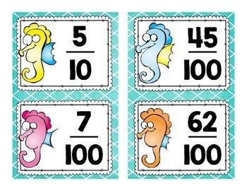 Go Seahorse! Fraction, Decimal, & Number Name Game {5.NBT.1,3}