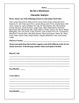 Go Set a Watchman Character Analysis Activity - Harper Lee