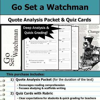 Go Set a Watchman - Quote Analysis & Reading Quizzes
