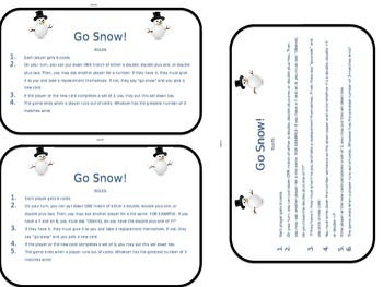 Go Snow! Differentiated Math Center Game- Doubles, Doubles +1 and 2