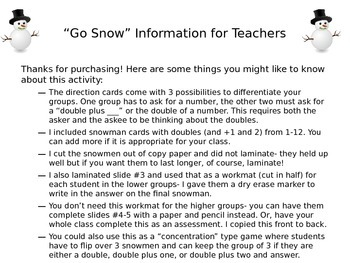 Go Snow! Differentiated Math Center Game- Doubles, Doubles
