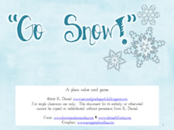 Go Snow! {Place Value Card Matching Game}