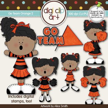 Go Team (Orange) 2-  Digi Clip Art/Digital Stamps - CU Clip Art