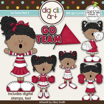 Go Team (Red) 2-  Digi Clip Art/Digital Stamps - CU Clip Art