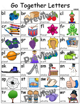 Go Together Letters Individual Student Sound Card 8 1/2 X 11 ~ Consonant Blends