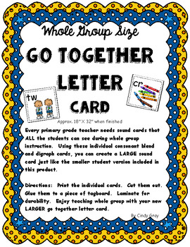 Go Together Letters Whole Group Size Sound Card ~ Consonant Blends