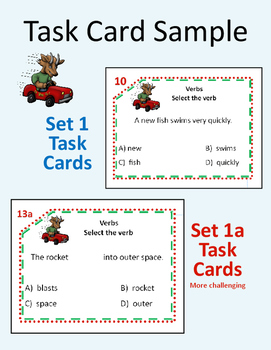 Go Verbs Go Task Cards and Assessment (Grades 2-3)
