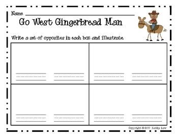 Go West Gingerbread Man--Opposites Game