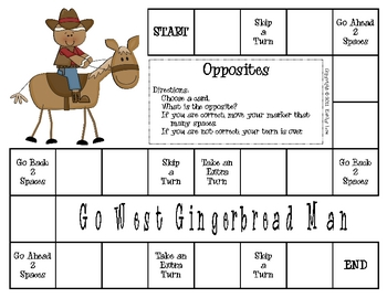 Go West Gingerbread Man--Opposites Game