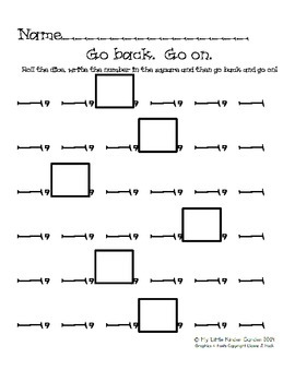 Go back!  Go on!  counting games for Kindergarten with dice
