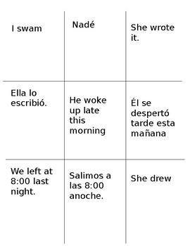 Go fish game Regular preterite tense with reflexive verbs