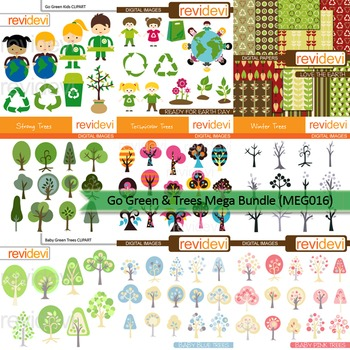 Go green and trees clip art mega bundle (9 packs)