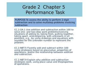 2nd grade  Chapter 5 Math Performance task