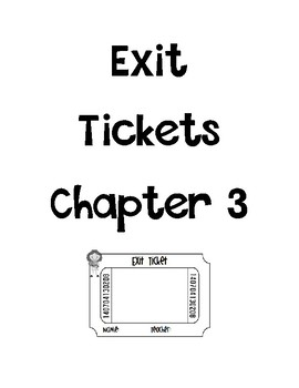 Go math Chapter 3 Exit Tickets