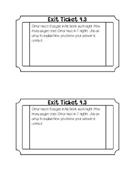 Go math Chapter 4 Exit Tickets