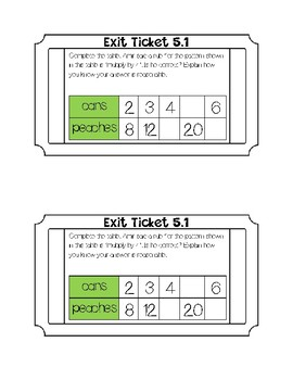 Go math Chapter 5 Exit Tickets