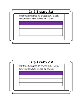 Go math Chapter 8 Exit Tickets
