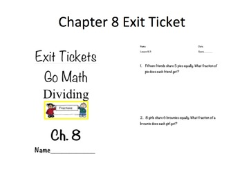 Go math grade 5 chapter 8 exit tickets bilingual
