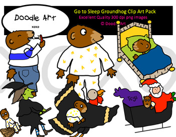 Go to Sleep Groundhog Clipart Pack