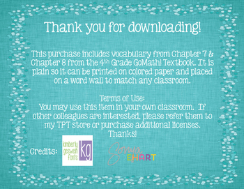GoMath! 4th Grade Chapter 7 & 8 Vocabulary