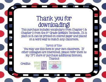 GoMath! 3rd Grade Chapter 1 & 2 Vocabulary