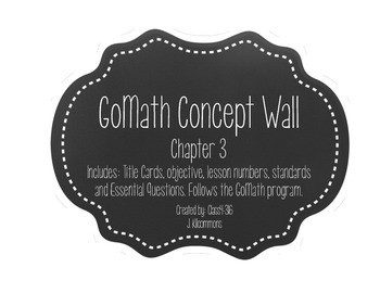 GoMath Chapter 3 Concept Wall