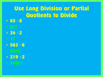 Division Chapter 4 Review Powerpoint ~ 4th Grade Math