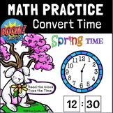 Distance Learning BOOM CARDS   Go Math 1st Grade Chapter 9 Convert Time