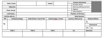GoMath! DAILY lesson plan template