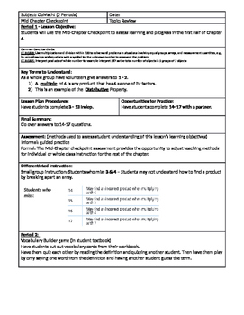 GoMath Grade 3 - Chapter 4 - Mid-Chapter Checkpoint Lesson Plan